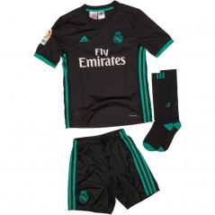 adidas Junior RMCF Real Madrid Away Mini Kit Black/Aero Reef