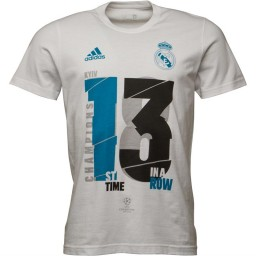 adidas RMCF Real Madrid 13X UCL Winners T-White