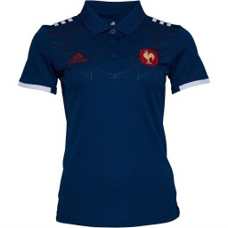 adidas France 2017 FFR Presentation Rugby Polo Tech Steel/White/Power Red