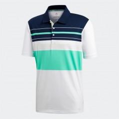 adidas Golf Ultimate365 Engineered Block Polo White/Aero Green