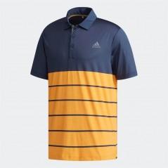 adidas Golf Ultimate365 Heather Block Polo Noble Indigo/Real Gold