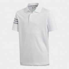 adidas Junior 3 Stripes Golf Polo White