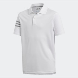 adidas Junior 3 Stripes Golf Polo White