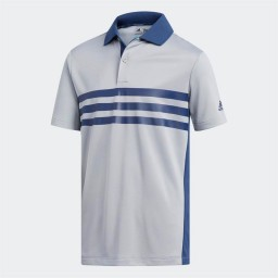 adidas Junior Merch 3 Stripes Golf Polo Mid Grey