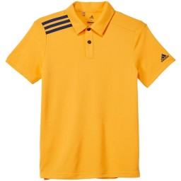 adidas Junior 3 Stripes Solid Golf Polo Real Gold