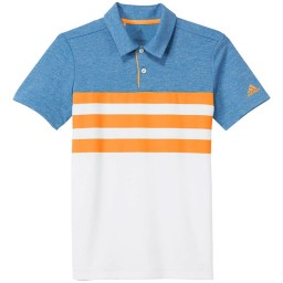 adidas Junior 3 Stripes Golf Polo Real Gold