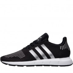 adidas Originals Junior Swift Run Black/Silver Metallic/ White