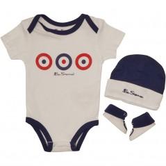 Ben Sherman Baby Three Piece Target Hat/Body/Bootie Set Bright White
