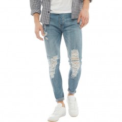 Brave Soul Ripped Skinny Mid Blue Wash