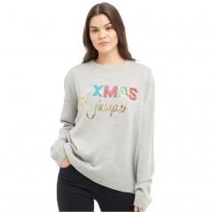 Brave Soul Christmas Sequin Slogan Light Grey Melange