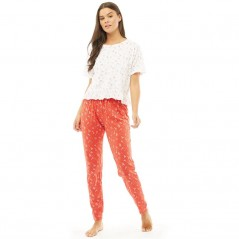 Brave Soul Xmas T-And Pant Set White/Red