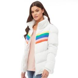 Brave Soul Antonia Rainbow Chevron Oversized White/Rainbow