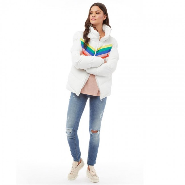 Brave Soul Antonia Rainbow Chevron Oversized White/Rainbow