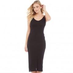Brave Soul Rib V-Midi And Low Back Black