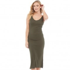 Brave Soul Rib V-Midi And Low Back Khaki