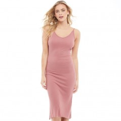 Brave Soul Rib V-Midi And Low Back Ash Rose