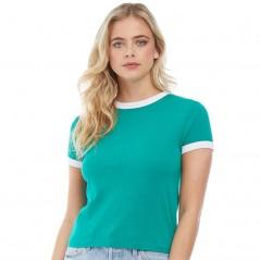 Brave Soul Claudia Contrast Rib T-Emerald/White