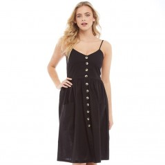 Brave Soul Leah Strappy Button Detail Black