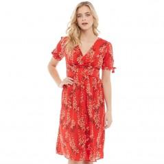 Brave Soul Adrianna V-Midi Red Floral