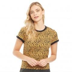 Brave Soul Ariana Printed Leopard Ringer T-Leopard Print