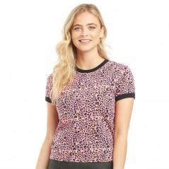 Brave Soul Ariana Printed Leopard Ringer T-Hot Pink Leopard Print