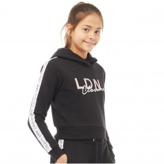 Closure London Junior Cropped Taped Hoodie Black