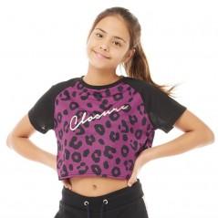 Closure London Junior Cropped Purple Leopard T-Black
