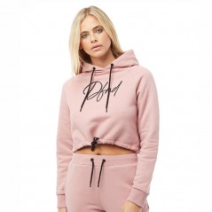 DFND London Bright Cropped Hoodie Dusty Pink