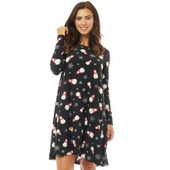 Fluid Long Sleeved AOP Swing Navy Multi