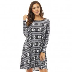 Fluid Long Sleeved AOP Swing Black/White