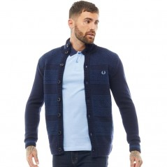 Fred Perry Patchwork Texture Button Navy