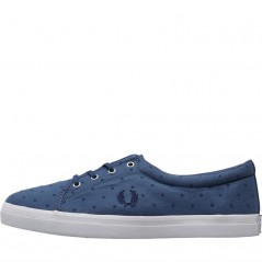 Fred Perry Aubyn Flocked Polka Dot Twill Midnight Blue