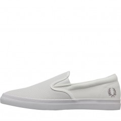 Fred Perry Underspin Slip-On Checkerboard Leather And White