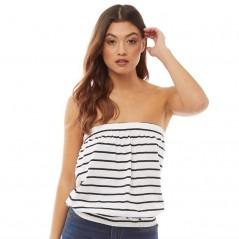 Board Angels Yarn Dyed Striped Jersey Boob Tube White/Black