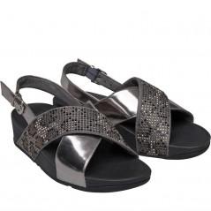 FitFlop Lulu Leopard Crystal Sandal Slide Steel Grey/Black