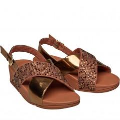 FitFlop Lulu Leopard Crystal Sandal Slide Bronze
