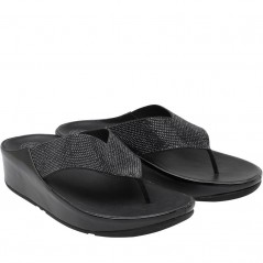 FitFlop Crystall Toe Post Black