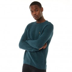 Farah Vintage Garway Ribbed Dark Teal Marl