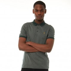 Farah Vintage Blacker Jacquard Polo Gillespie Green