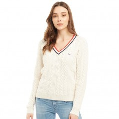 Jack Wills Pluckley V-Chunky Cable Vintage White