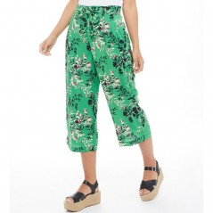 Jacqueline De Yong King Belted Culottes Medium Green/Vicious Flower