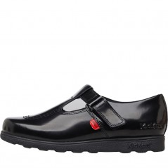 Kickers Junior Fragma T-Bar Patent Leather Black