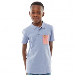 Lyle And Scott Junior Micro Pocket Polo Mid Blue