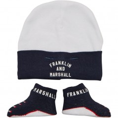 Franklin & Marshall Baby & Bootie Set Navy