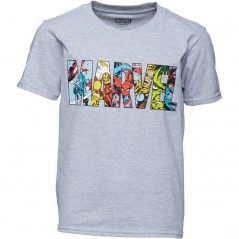 Marvel Characters T-Grey Heather