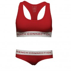 French Connection Crop And Briefs Set Mars Red