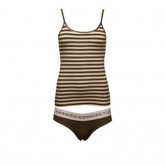 French Connection StCami And Plain Briefs Set Pink Opal/Dusty Olive Stripe