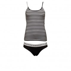 French Connection StCami And Plain Briefs Set Black/White Stripe