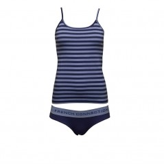 French Connection StCami And Plain Briefs Set Russian Blue/Skylight Stripe