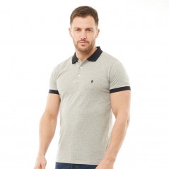 French Connection Contrast Polo Light Grey Melange/Marine